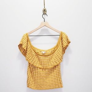 American Eagle Off the Shoulder Pleat Knit Top